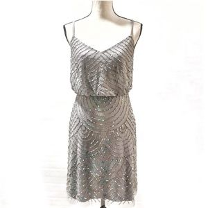 Adrianna Papell Sequin Beaded Gray Cocktail Dress